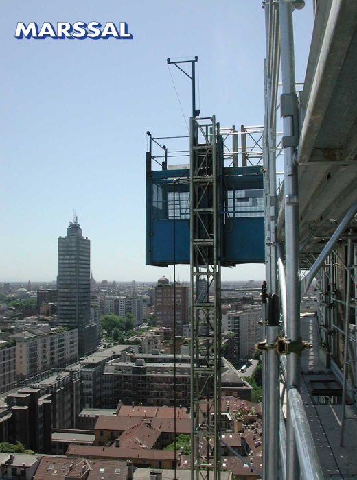 Sale of metal scaffolding and permanent industrial elevators for